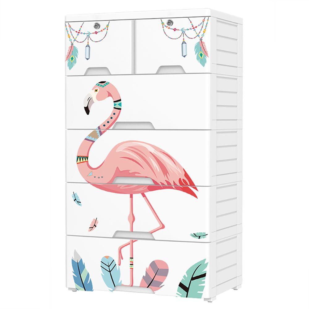 【日居良品】印地安風系列質感五層抽屜收納櫃-DIY附鎖抽屜附輪