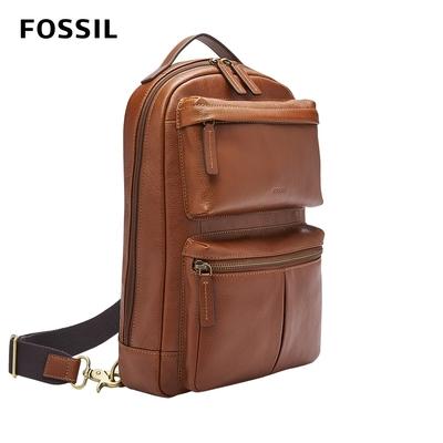 FOSSIL Buckner 多功能真皮單肩電腦包-干邑色 MBG9444222 (可入13吋筆電)
