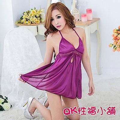 QK性福小鋪 吊帶蕾絲光滑緞面情趣內衣睡衣短裙 QK092