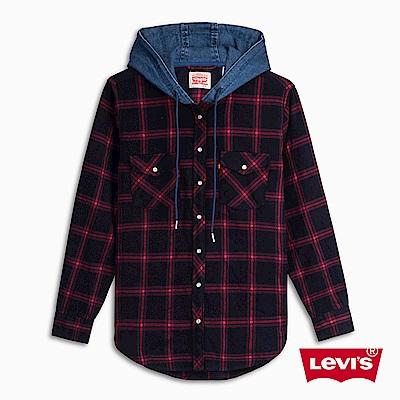 Levis 連帽外套 女裝 外搭式襯衫設計 紅藍格紋
