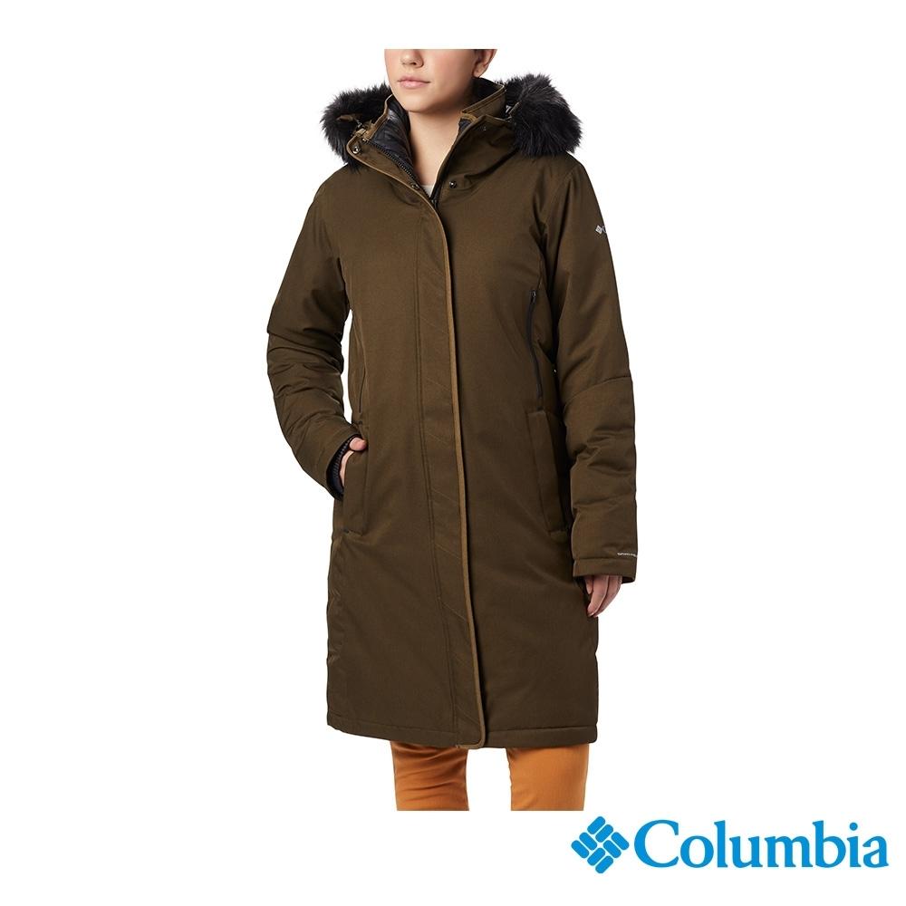 Columbia 哥倫比亞 女款- Omni-TECH 防水鋁點保暖羽絨大衣-軍綠 UWR15070AG