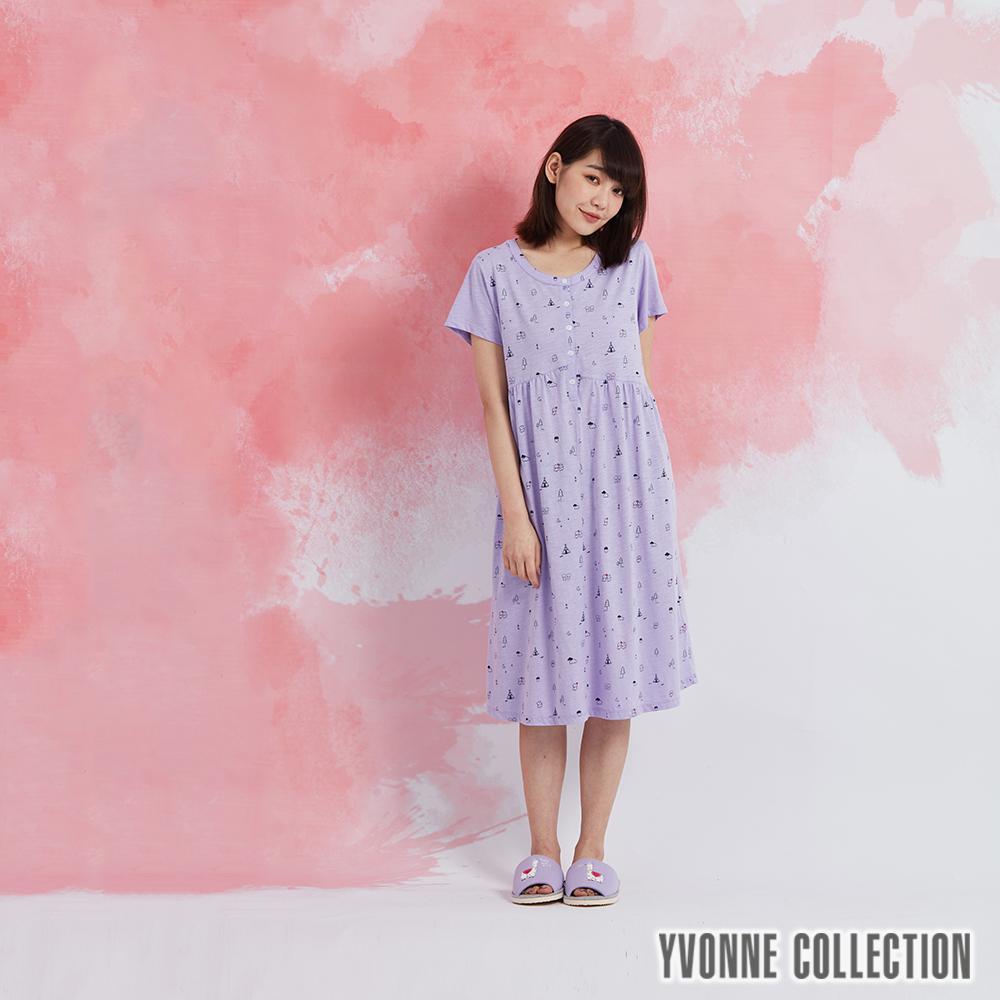 YVONNE 以旺娃娃印花半開襟短袖洋裝-淺紫
