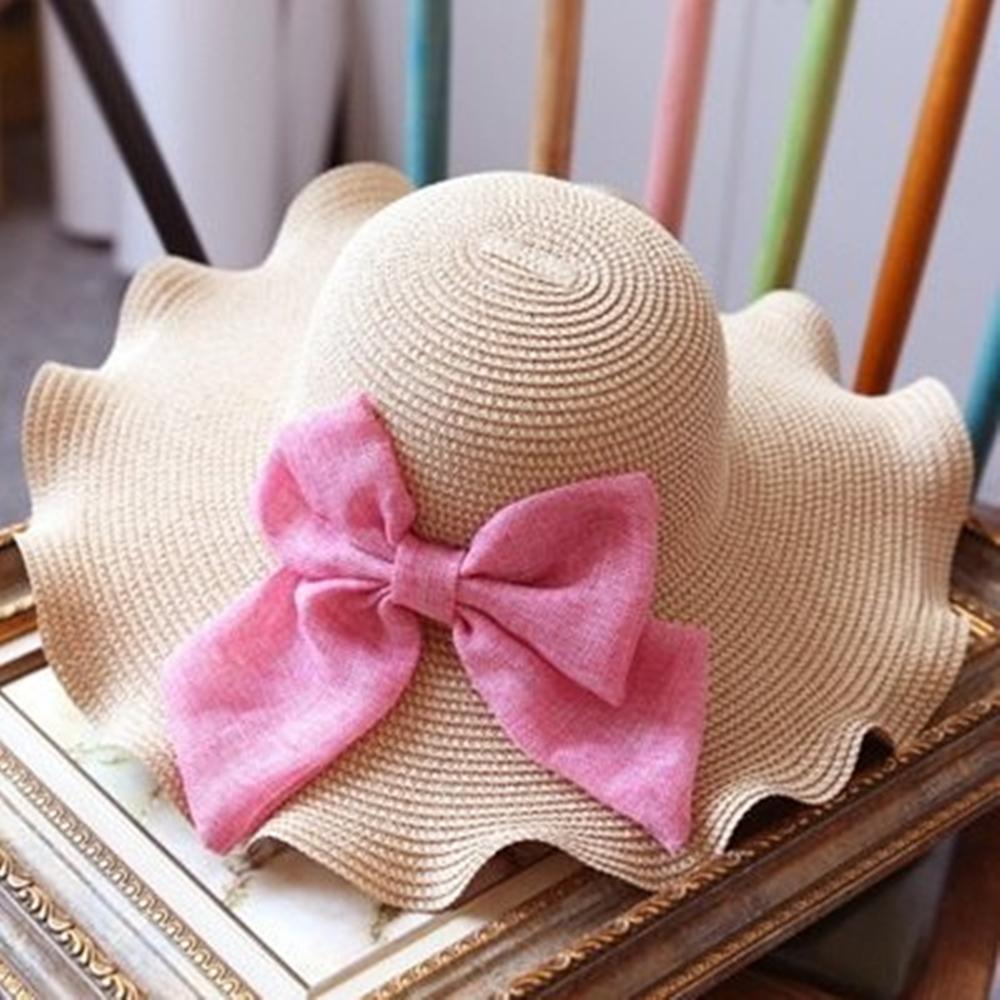 米蘭精品 草帽防曬遮陽帽-蝴蝶結浪漫波浪邊時尚戶外出遊沙灘女帽子2色73eq44