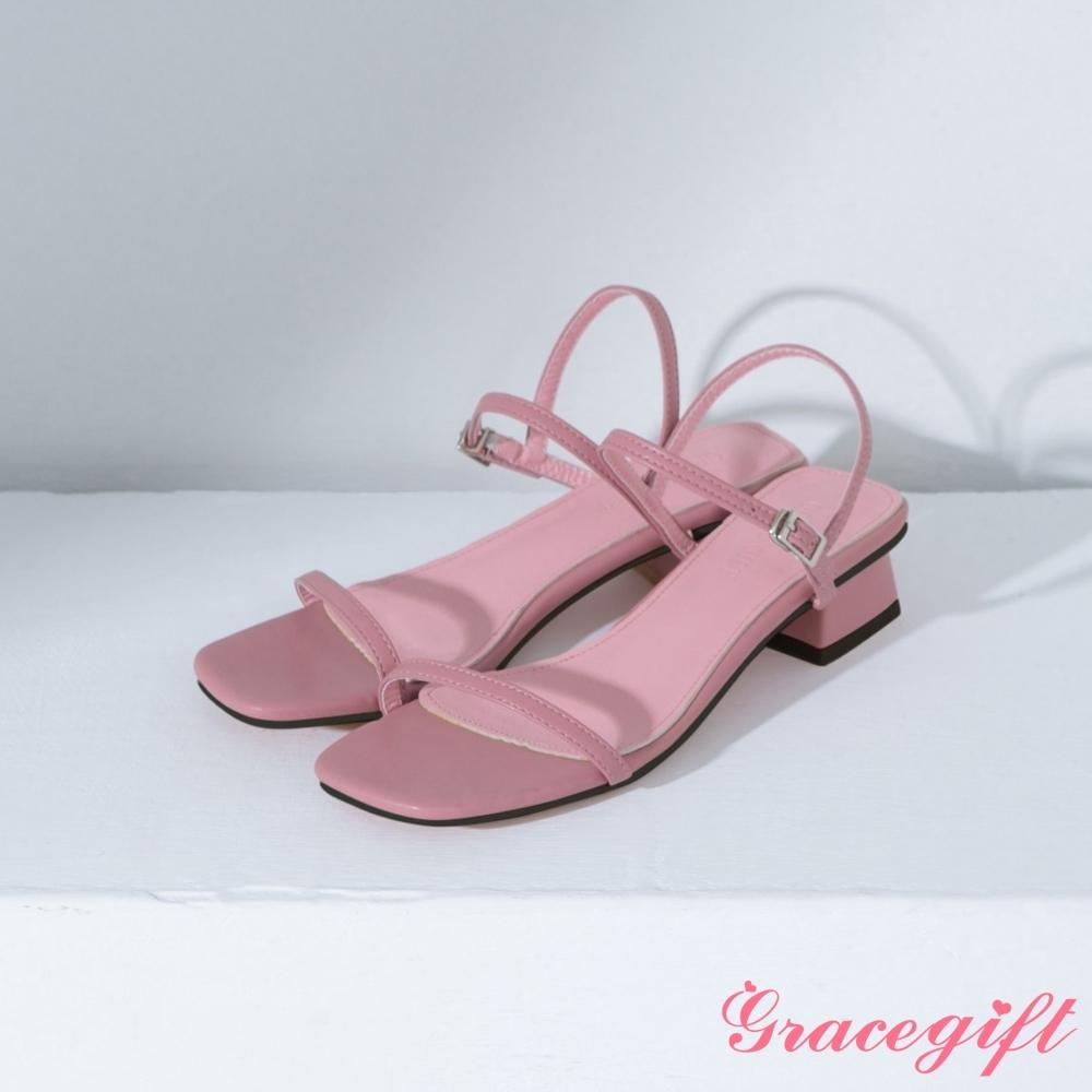 Grace gift-方頭一字繫踝中跟涼鞋 粉