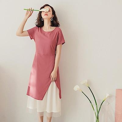 優雅撞色下襬開衩網紗層次洋裝-OB大尺碼