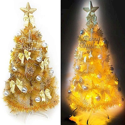 摩達客 6尺特級金色松針葉聖誕樹 (金銀色系配件)+100燈LED燈黃光2串(附控制器)