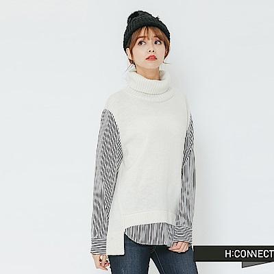 H:CONNECT 韓國品牌 女裝-拼接設計高領毛衣-白