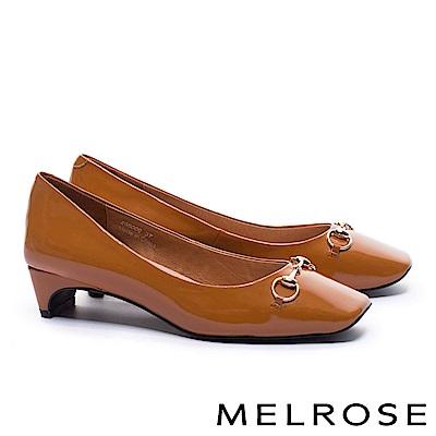 高跟鞋 MELROSE 復古雅緻百搭軟漆皮方頭高跟鞋-咖