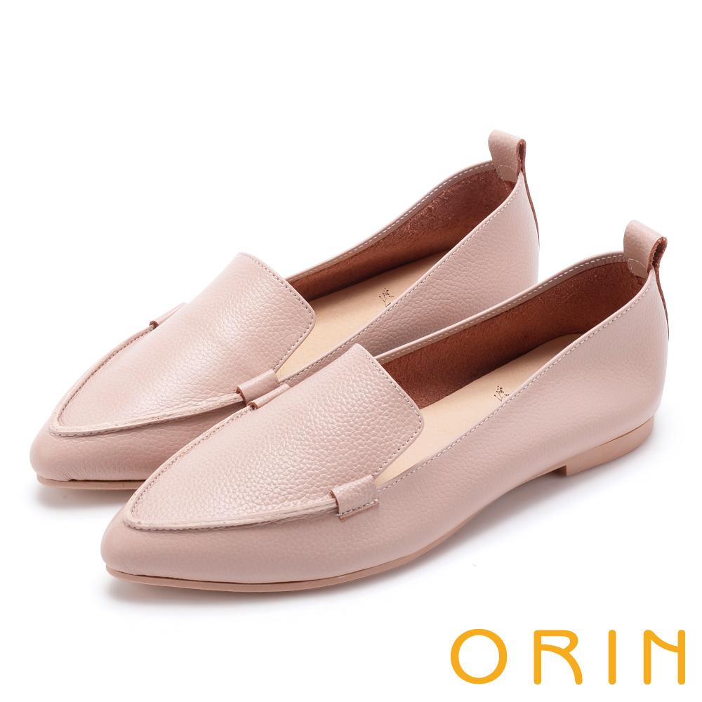 ORIN 優雅品味 柔軟牛皮素面尖頭樂福鞋-粉色