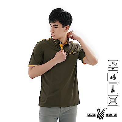 【遊遍天下】男款吸濕排汗抗UV機能POLO衫GS1039咖啡黃