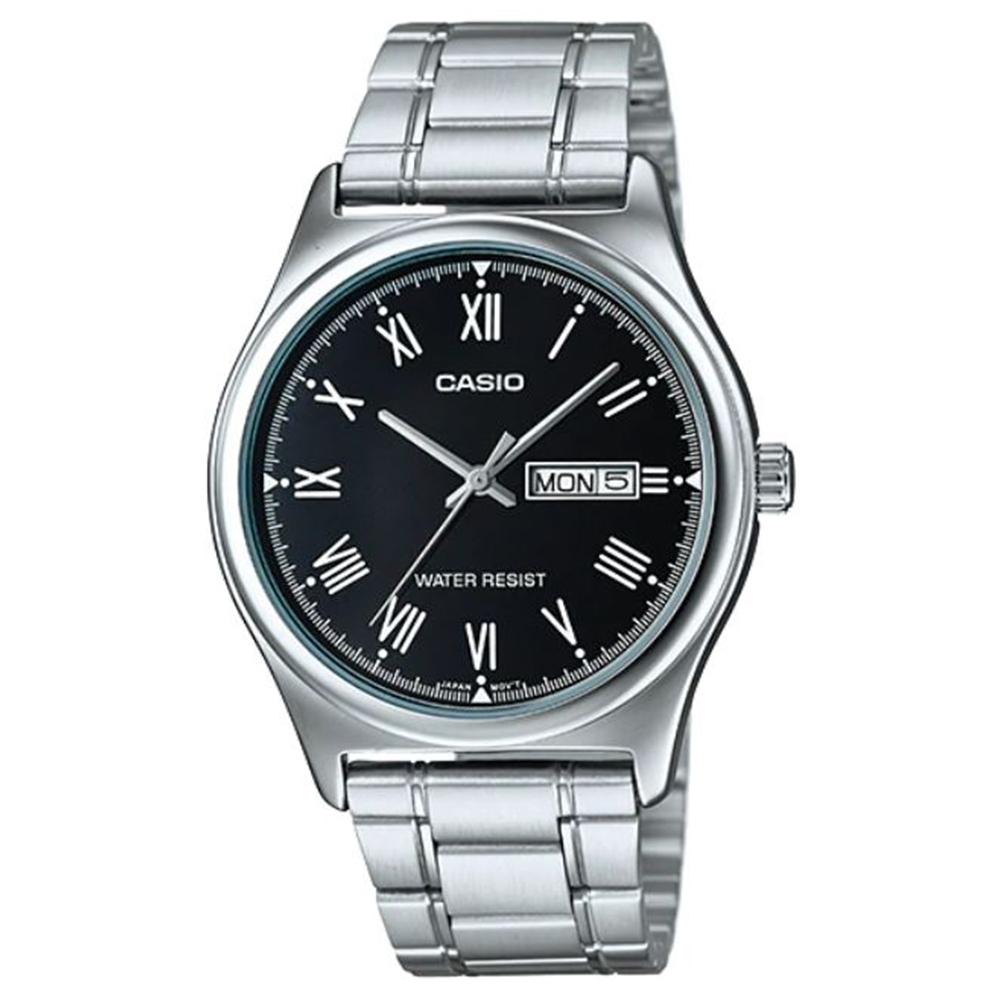CASIO 簡約風星期日期顯示羅馬指針不鏽鋼腕錶-黑(MTP-V006D-1B)/38mm