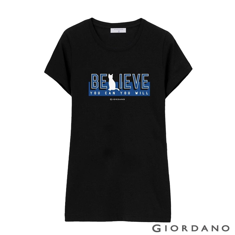 GIORDANO 女裝棉質圓領標語印花T恤- 14 標誌黑