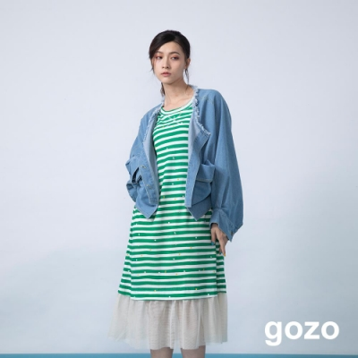gozo 繽紛點點系列條紋拼接網紗洋裝(二色)