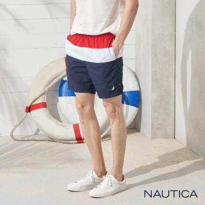Nautica經典拼接鬆緊綁帶海灘褲-紅藍