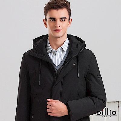 歐洲貴族 oillio 長版連帽鋪棉外套 紳士休閒保暖首選 黑色