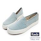 Keds DOUBLE DECKER 海洋風條紋休閒便鞋-藍