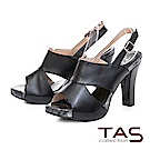 TAS 鏤空剪裁魚口高跟涼鞋-摩登黑
