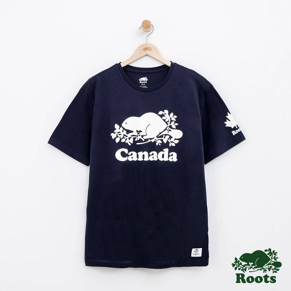 男裝Roots 加拿大系列短袖T恤-藍