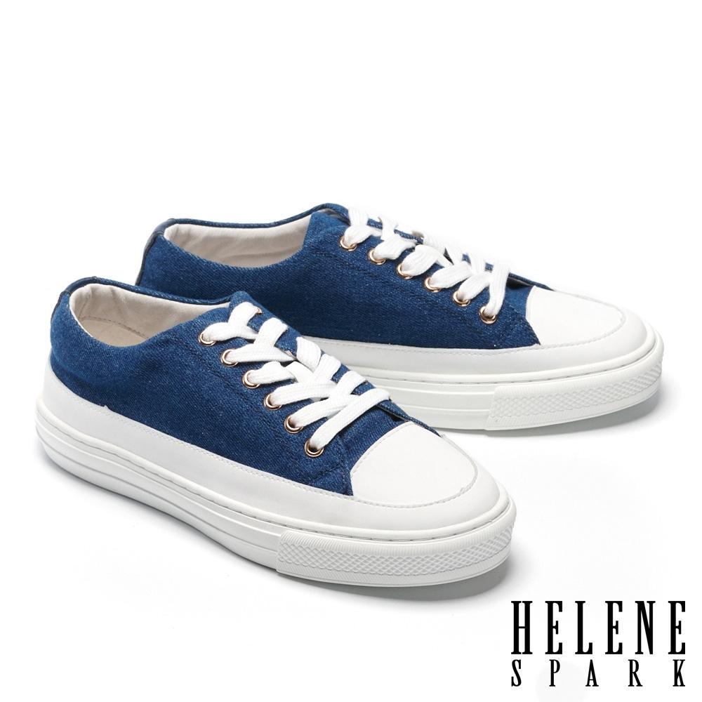 休閒鞋 HELENE SPARK 簡約率性牛仔布厚底休閒鞋-藍