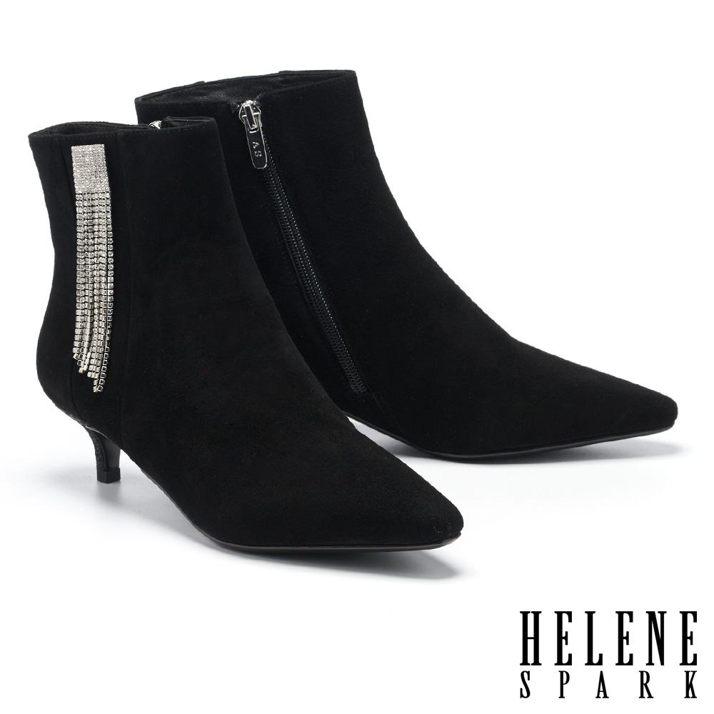 短靴 HELENE SPARK 高尚時髦流蘇晶鑽鍊條尖頭高跟短靴-黑