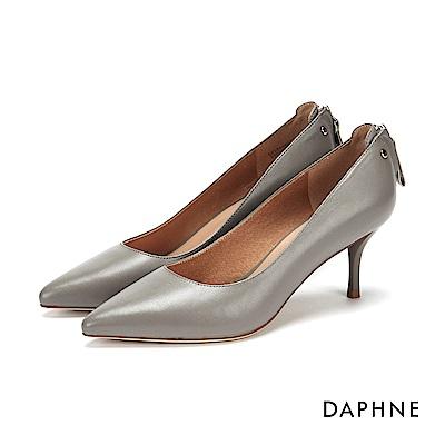 達芙妮DAPHNE 高跟鞋-拉鍊鉚釘百搭尖頭高跟鞋-灰