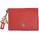 DAKS 經典品牌DD LOGO品牌吊飾證照名片機能皮革短夾(紅色)