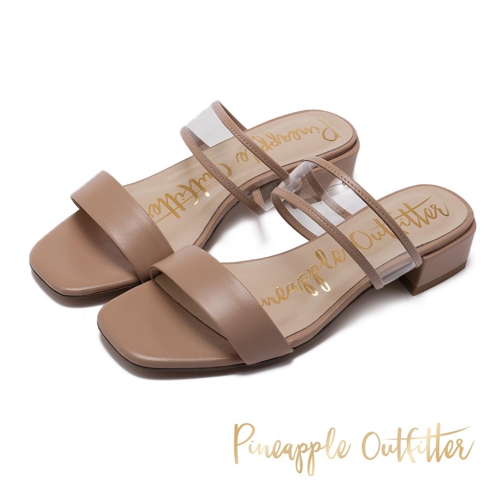 Pineapple Outfitter 真羊皮拚接透明低粗跟涼拖鞋-深杏