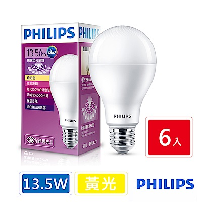 飛利浦 PHILIPS 第7代 舒視光 13.5W LED燈泡-黃光6入組