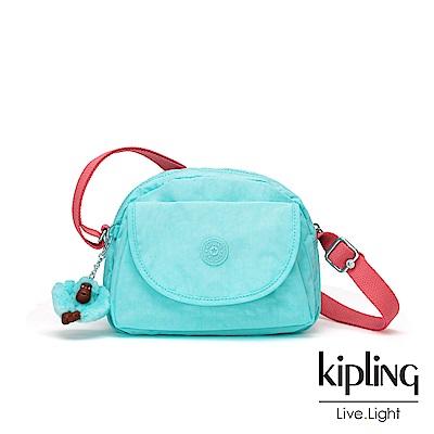 Kipling 糖果色調薄荷綠撞色馬蹄翻蓋側背小包-STELMA