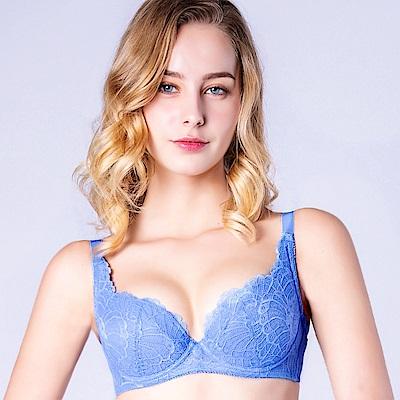 思薇爾 花靈美姬系列B-F罩蕾絲包覆內衣(英國藍)