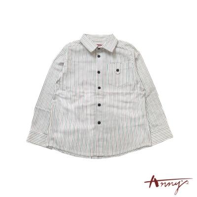 Annys帥氣小王子休閒超百搭紅黑條紋純棉舒適襯衫*0481白