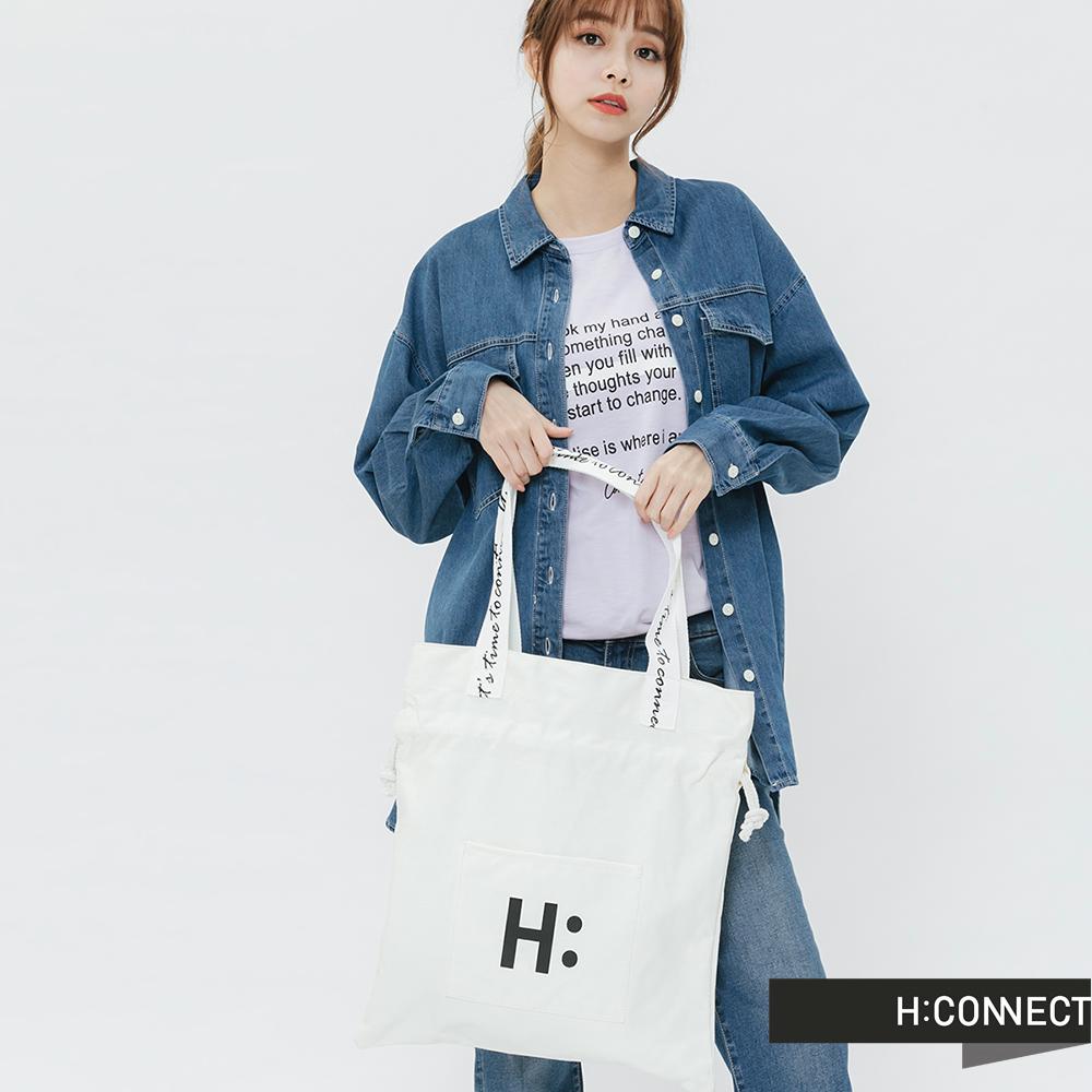 H:CONNECT 韓國品牌 -束口造型帆布包-白