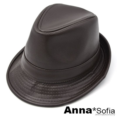 AnnaSofia 率性質感紋皮革 紳士帽爵士帽禮帽(深咖)