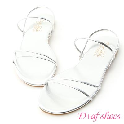 D+AF 夏氛首選.精緻細帶平底涼鞋*銀