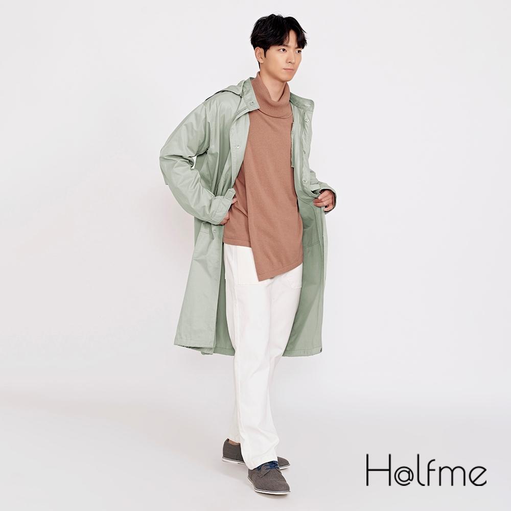 Halfme-可拆卸式連帽長版風衣外套-中性