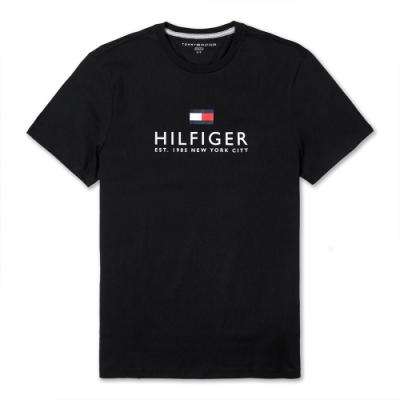 TOMMY 經典熱銷印刷大LOGO文字短袖T恤(男)-黑色
