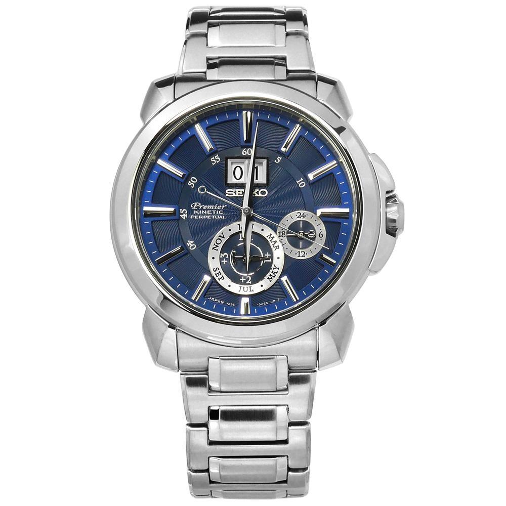 SEIKO 精工 Premier 人動電能 萬年曆 防水 不鏽鋼手錶-藍色/43mm