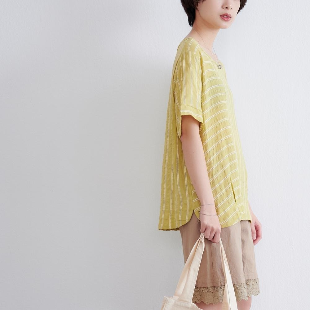 慢 生活 交錯條紋涼感上衣- 黃色