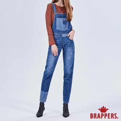 BRAPPERS 女款 Boy friend系列-棉質拼色吊帶長褲-藍