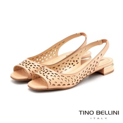 Tino Bellini巴西進口幾何鏤空後拉帶魚口涼鞋_粉