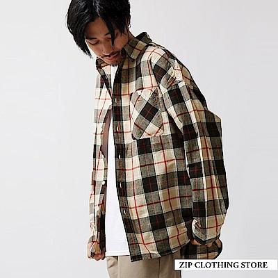 寬長版純棉格紋襯衫(3色) ZIP日本男裝