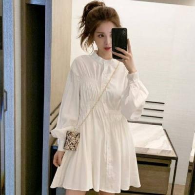 La Belleza小立領摺皺鬆緊不對稱排釦襯衫滑料洋裝