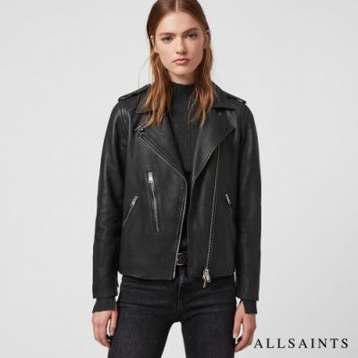 ALLSAINTS ELVA 不對稱個性騎士羊皮皮衣外套-黑