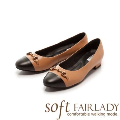 FAIR LADY Soft芯太軟 金屬飾鍊拼接圓頭低跟鞋 蜜橙
