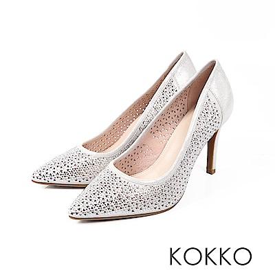 KOKKO - 永恆愛戀訂製閃鑽鏤空高跟鞋-無瑕銀