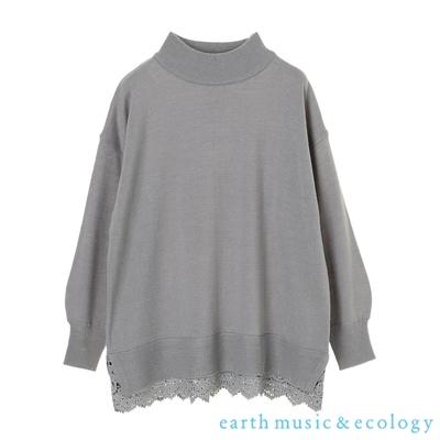 earth music 下擺拼接蕾絲針織上衣