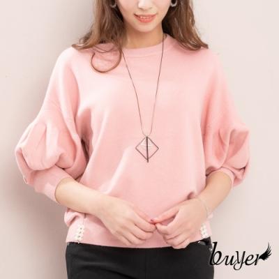 【白鵝buyer】韓版加厚款優雅泡泡袖珍珠下擺毛衣(粉紅色)