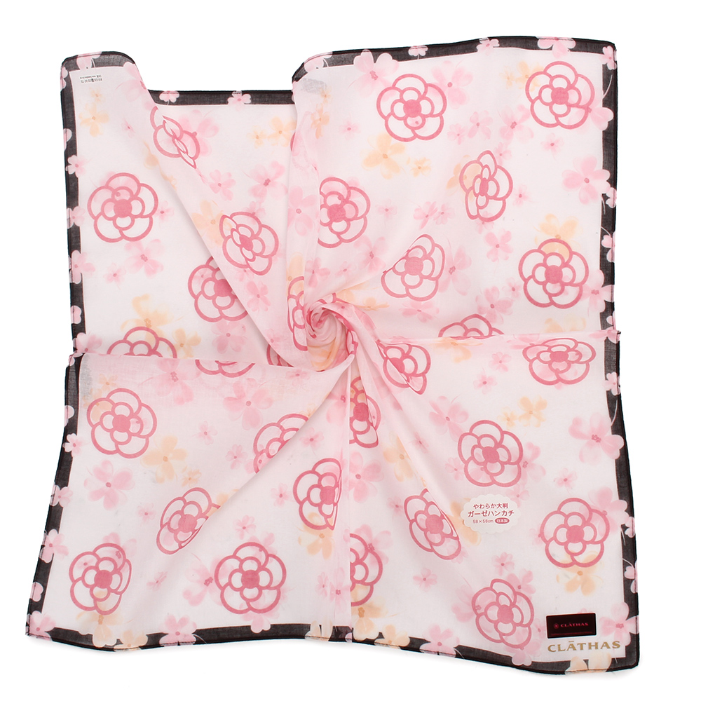 CLATHAS經典滿版山茶花純棉帕巾-粉紅/白