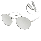 BURBERRY太陽眼鏡 潮流雙槓圓框款 /白槍-白水銀 #BU3109 12946G