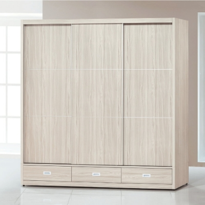 MUNA 白梣木7X7尺下三抽推門衣櫥/衣櫃 210X60.5X210cm